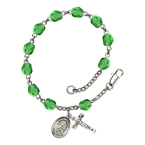August Rosary (St. Therese of Lisieux Silver Plate Rosary Bracelet 6mm August Green Fire Polished Beads Crucifix Size 5/8 x 1/4 medal charm)