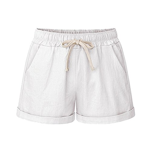 Gooket Women's Elastic Waist Casual Comfy Cotton Linen Beach Shorts with Drawstring White Tag XXL-US 12