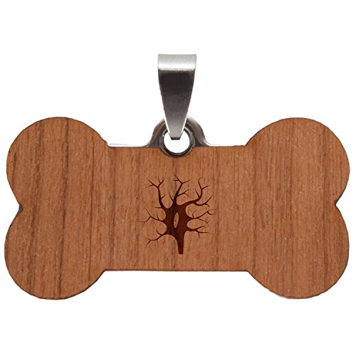 (Wooden Accessories Co Spindle Neuron Stainless Steel and Cherry Wood Dog Tag - Pet Pendant with Laser Engraved Design - Dog Id Tags Gift)