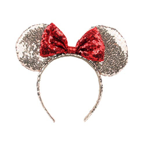 OBUY Rose Golden Minnie Ears, Minnie Mouse Ears,Adult red Ears,mice Ears Minnie Mouse Ears,Rainbow Minnie Mouse Ears, Sparkly Minnie Ears, Mouse Ears ()