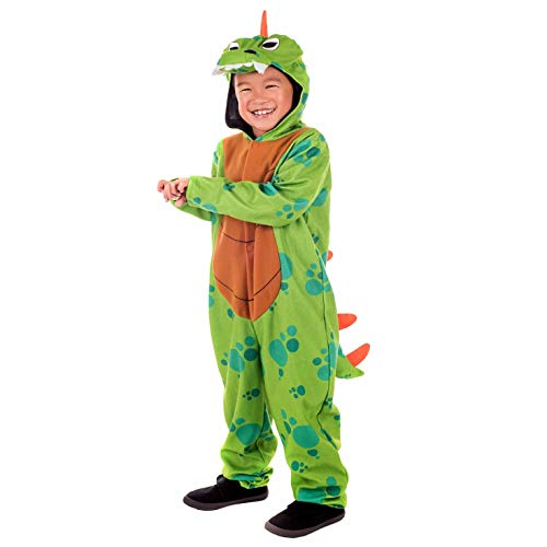 fun shack Kids Dinosaur Costume Childrens Green Hooded Onesie Historical Outfit - Small]()
