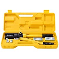 VOLTZ 16 Ton Hydraulic Wire Crimping Tool - Battery Cable Lug Terminal Crimper with 12 Sets of Die Pairs, 10mm2 to 300mm2