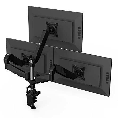 3 Articulated Arm (LANGRIA Triple LCD Monitor Desk Mount Lift Arm Stand with C-Clamp Sturdy Support Fully Articulated Adjustable Portrait or Landscape Modes with Cable Organizer Fits 3 Computer Screens up to 27