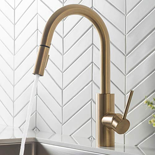 (Kraus KPF-2620BG Oletto Kitchen Faucet, in in Gold Finish)