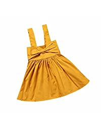 Summer Baby Girls Sunsuit Sleeveless Bowtie Solid Dress Outfit