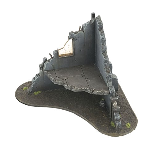 War World Gaming War Torn City Ruined Multi-Storey Corner Building - 28mm Heroic Scale Wargaming Terrain Model Diorama Scenery Wargame Warhammer 40K Necromunda Tabletop Battle Destroyed City from War World Gaming