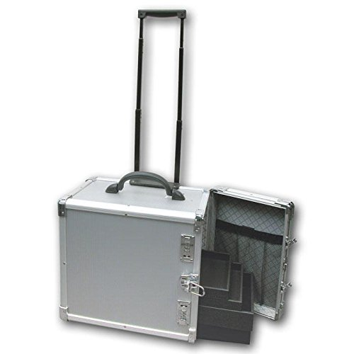Professional Aluminum Jewelry Carrying Rolling Case Handl...