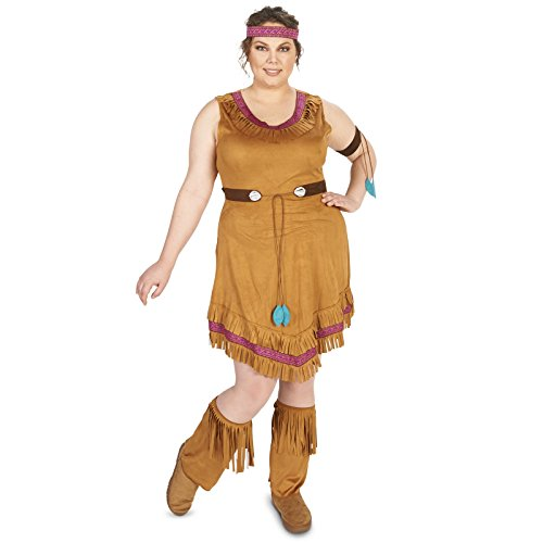 [Native Princess Adult Plus Costume 1X] (Pocahontas Wig)