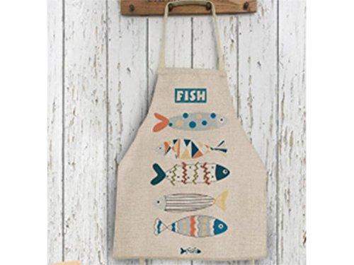 Gelaiken Perfect Cartoon Fish Printed Letter Cotton Linen Apron Hanging Neck Animal Sleeveless Unisex Apron