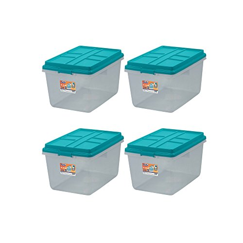 Single Unit 72-Quart Hefty Hi-Rise Clear Latch Box In Teal Sachet Lid and Handles (4 Pack)