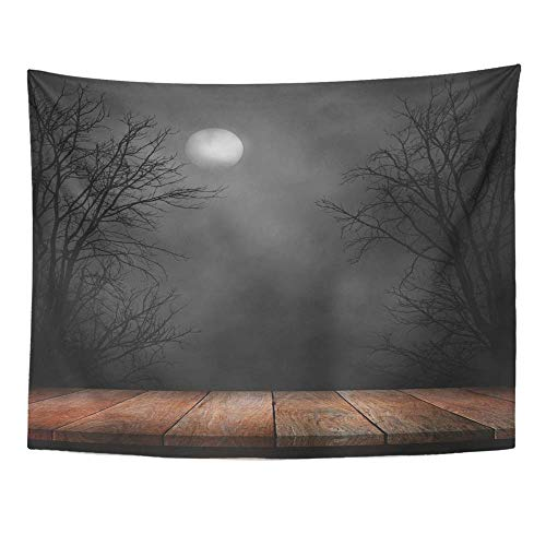 SPXUBZ Wall Tapestry Forest Old Wood Table and Silhouette Dead Tree at Night for Halloween Creepy Wall Hanging Decoration Soft Fabric Tapestry Perfect Print for House Rooms
