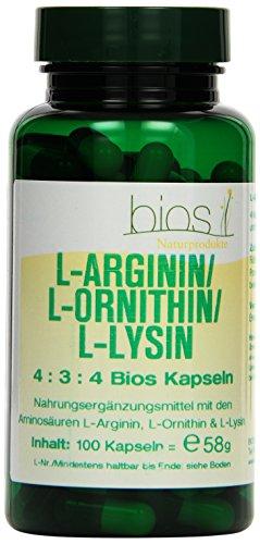 Bios L-Arginin/L-Ornithin/L-Lysin 4:3:4, 100 Kapseln, 1er Pack (1 x 58 g)