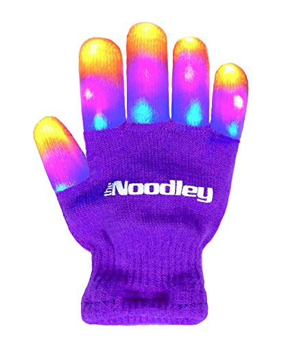 The Noodley's Flashing LED Light Gloves Child Size Small Purple with Extra Batteries Super Bright LEDs Orange, Pink, and Blue