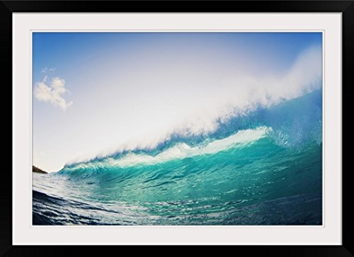 GreatBIGCanvas ''Hawaii, Maui, Honolua Bay, Beautiful Blue Wave at Sunset'' by Makenastock Media Photographic Print with Black Frame, 36'' x 24'' by greatBIGcanvas