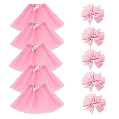 (BGFKS 5 Pack Tutu Skirt For Girl Ballet Dance Costume Dress Up Princess Party Girl Tutus With Butterfly Headdress 12 Colors Age)