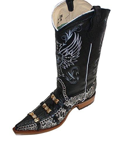 Dona Michi Mens Western Cowboy In Pelle Stampa Coccodrillo / Cinghie Decorative Stivali Neri