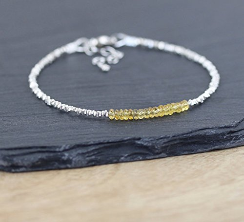 (JP_Beads Padparadscha Sapphire, Sterling & Karen Hill Tribe Silver Plated Bracelet. Dainty Yellow Gemstone Stacking Bracelet. Thin Delicate Beaded Bracelet 3mm)