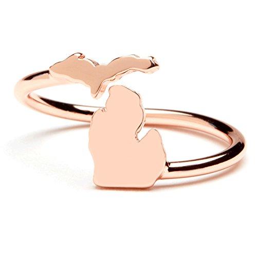 Stone Armory Michigan Ring | State of Michigan Ring- Adjustable Copper Plated | Michigan Gift | Michigan Map Jewelry | Michigan Peninsula Ring (Mens Ring Michigan)