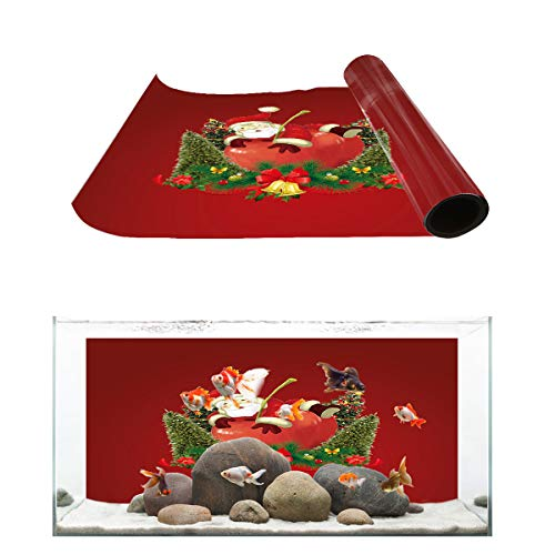 Aquarium Background Red Apple Santa Claus and Christmas Tree Fish Tank Wallpaper Easy to Apply and Remove PVC Sticker Pictures Poster Background Decoration 20.4