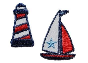 Segelboot applikation  2 tlg. Set Boot Leuchtturm 2,7 cm * 3,7 cm Bügelbild Aufnäher ...