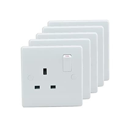 Sinoe VN035 Pack of 5 BS Certified 10A 1 Gang Double Pole