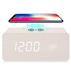 fomobest Wooden Alarm Clock with Wireless Charging for iPhone Samsung, Wood Digital LED Desk Clock for Bedroom, 3 Alarm Settings, Sound Control, Adjustable Brightness, Time Temperature (White)