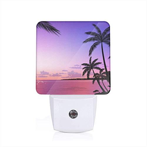 Purple Tropical Style Night Light Automatic Sensor Home LED Wall Lights Mini Indoor Lighting Trendy Save Sleep Lamps Room Decor