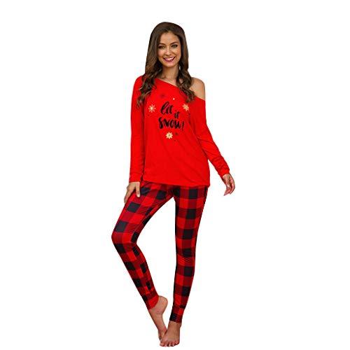 Women Christmas Plaid Letter Set Long Sleeve T-Shirt Trouser Nightwear Sleepwear (Nightwear Christmas)