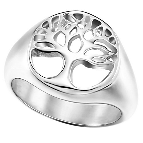 MOWOM Silver Tone Stainless Steel Ring Tree Of Life Size 6