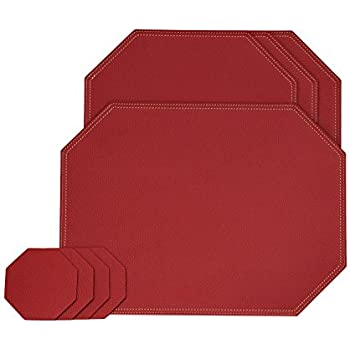Amazon Com Nikalaz Set Of Round Red Placemats And