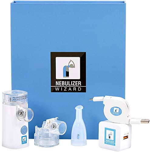 Nebulizer Wizard – Rechargeable SILENT Portable For Home Travel. Kit Includes All Accessories