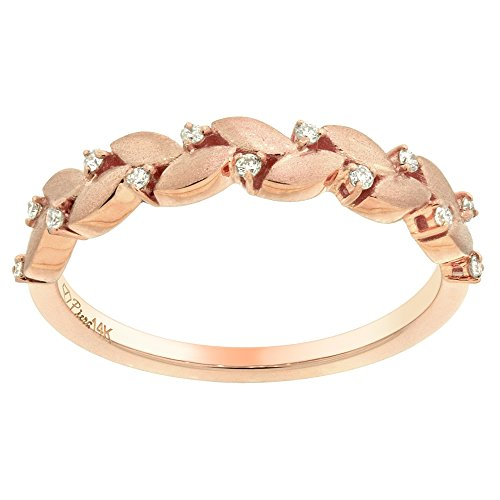 - 14k Rose Gold Diamond Olive Branch Ring Engagement Stackable 0.07 ct 1/8 inch wide size 9