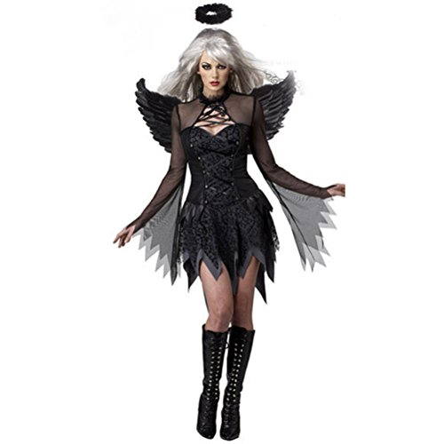 Halloween Costumes For Women Black Fallen Angel Costume Fancy Dress Sexy Costume For Women With Headpiece and Angel Wings