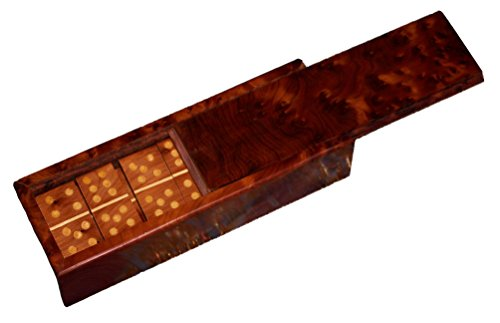 - Thuya Wood Moroccan Handcrafted Box with Light Wood Inlaid Inlead Dominos