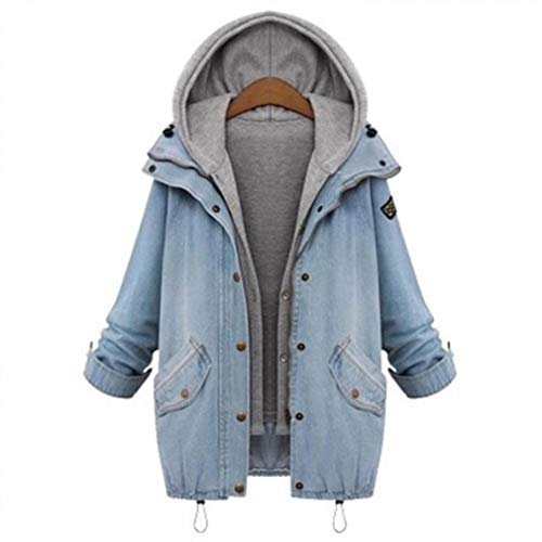 Holiday Denim Jacket - Women Plus Size Denim Jacket Autumn Loose Windbreaker Vest Two Sets (Color : Sky Blue, Size : XL)