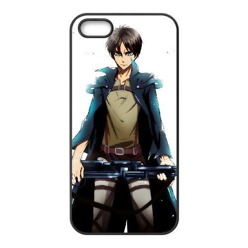 Attack On Titan coque iPhone 5 5S Housse téléphone Noir de couverture de cas coque EBDOBCKCO13971