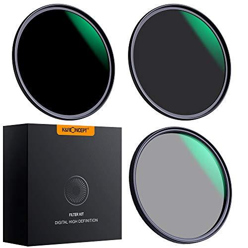 K&F Concept - Kit de Filtros para Objetivo 72mm ND8 ND64 y 72mm Polarizado Circular(CPL) con Funda