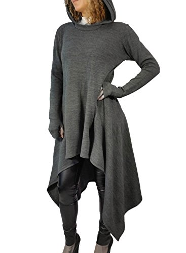 WLLW Women Long Sleeve Asymmetric Hem Hoodie Sweatshirt Cloak Tops Blouse