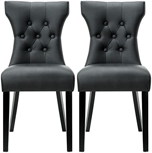 Modway Silhouette Modern Tufted Faux Leather Upholstered Parsons Two Dining Chair