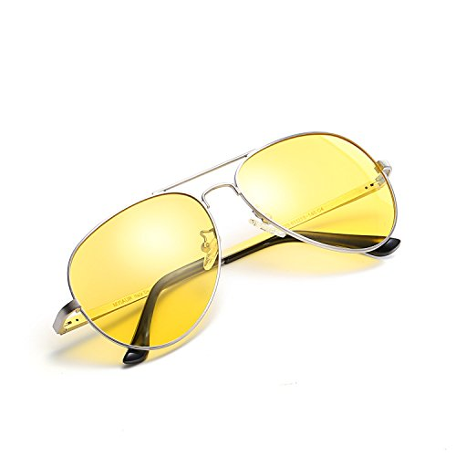 HD Night Vision Glasses for Comfortable Driving Yellow Lens Aviator Nighttime Sunglasses (Silver / - Are What For Tinted Glasses Yellow