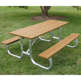 6' Galvanized Frame Picnic Table, Recycled Plastic, Cedar