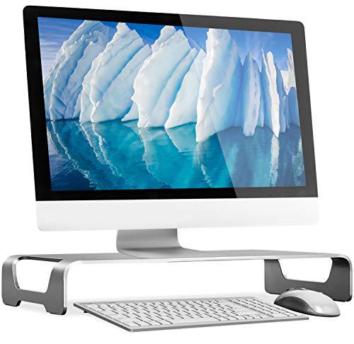 Mount-It! Aluminum Monitor Stand for iMac – Wide Unibody Monitor Riser – Metal Monitor Stand Desktop Organizer with…