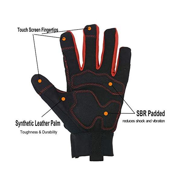HANDLANDY Hi-vis Reflective Work Gloves, Anti Vibration Safety Gloves, Touch Screen, Orange Flexible Spandex Back (Small… 2
