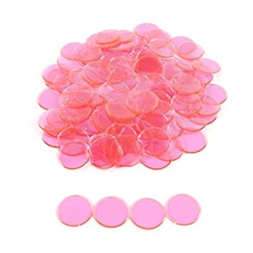 Plastic Non-Magnetic Bingo Chips - Pink - 100 Bingo Chips - 7/8 Inch Size