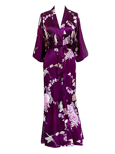 - Old Shanghai Women's Kimono Long Robe - Chrysanthemum & Crane - Plum