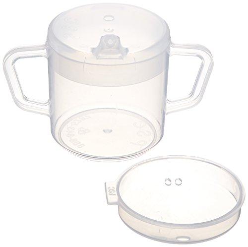 (Sammons Preston Independence Two-Handled Cup, Spillproof Adult Sippy Cup, BPA Free Mug, 8 Ounces, Comes with 2 Lids)
