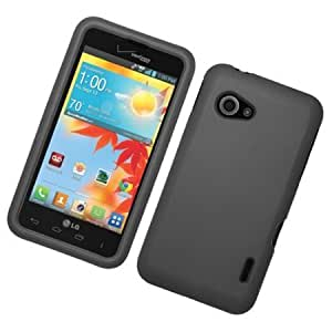 Bloutina Eagle Cell Rubber Protector Case for LG Enact/VS890 - Retail Packaging - Black