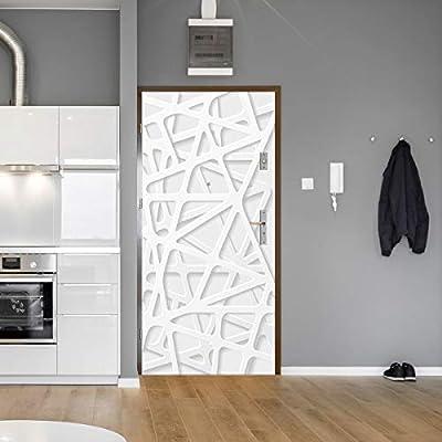 Etiqueta de Puerta 3D Patrón geométrico Blanco Creativa DIY Autoadhesiva Impermeable Puerta Murales Decoración de Dormitorio, baño, Cocina, Puerta de armario95x215cm: Amazon.es: Hogar