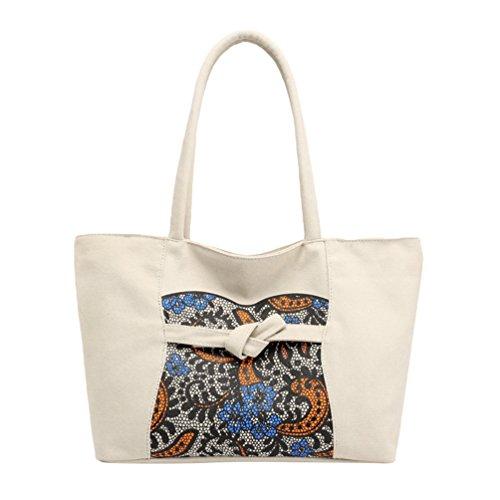 ZKOOO Sacs à Main en Toile Femmes Sac à Épaule Ethnique Impression Hobo Bandoulière Shopper Travers Grande Capacité Fourre-tout Sacs Bleu Beige