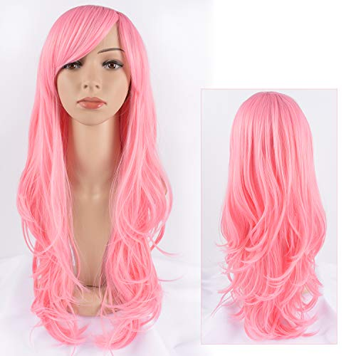 Tofafa Pink Wigs for Women Long Wavy Wig,Fun for Everyday or Cosplay and Costume,Comes with a Free Wig Cap(Pink Wig 24 -